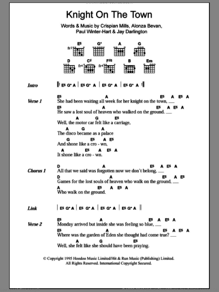 Knight On The Town sheet music for guitar (chords) by Kula Shaker, intermediate guitar (chords). Score Image Preview.
