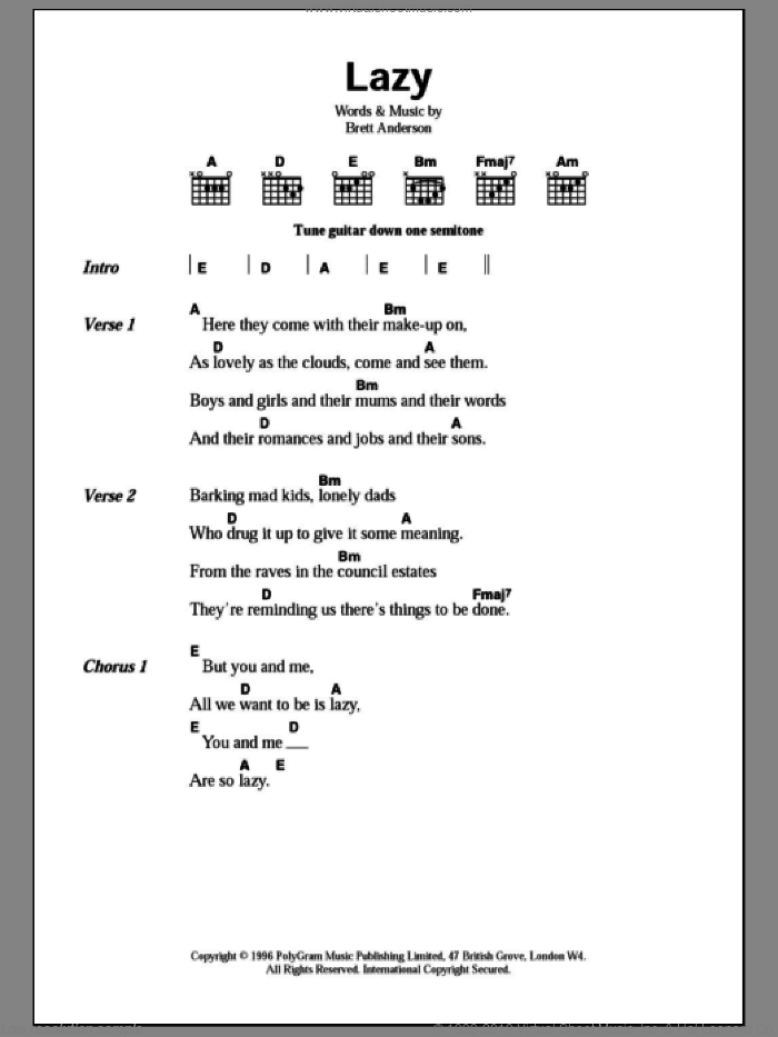Lazy sheet music for guitar (chords) by Brett Anderson and Suede. Score Image Preview.