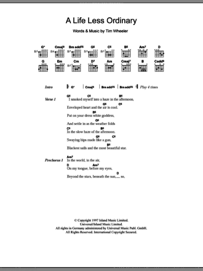 A Life Less Ordinary sheet music for guitar (chords) by Tim Wheeler. Score Image Preview.