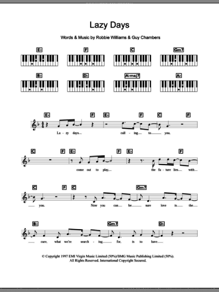 Lazy Days sheet music for piano solo (chords, lyrics, melody) by Robbie Williams, intermediate piano (chords, lyrics, melody). Score Image Preview.