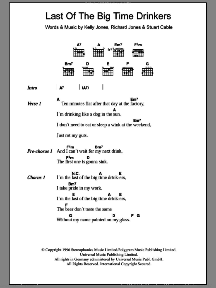 Last Of The Big Time Drinkers sheet music for guitar (chords) by Stereophonics, intermediate guitar (chords). Score Image Preview.