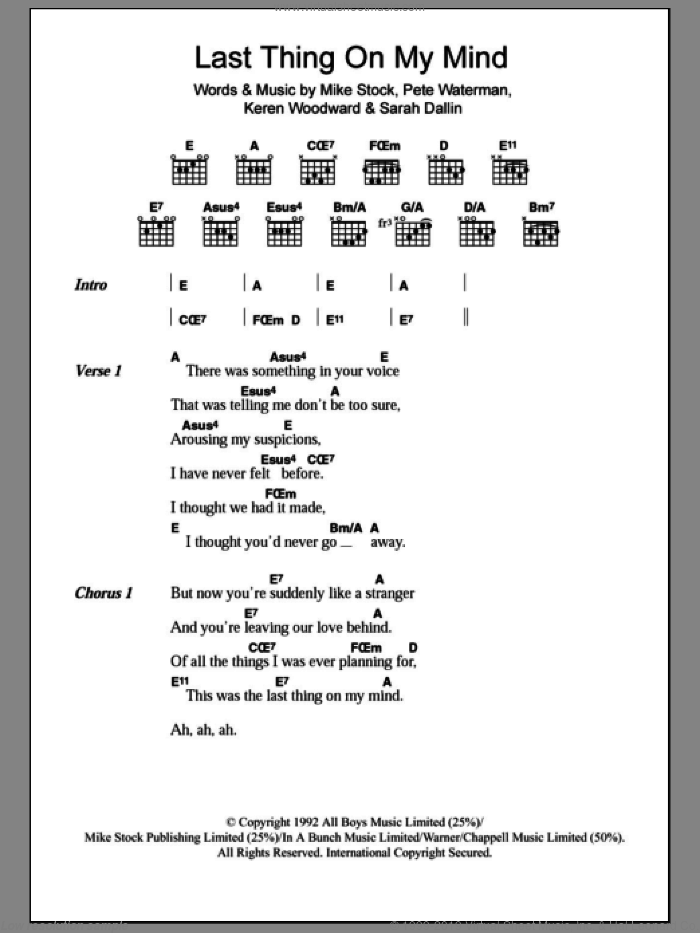 Last Thing On My Mind sheet music for guitar (chords) by Sarah Dallin, Steps, Keren Woodward and Pete Waterman. Score Image Preview.