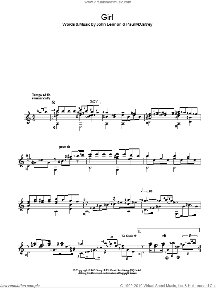 Girl sheet music for guitar solo (chords) by The Beatles, John Lennon and Paul McCartney, easy guitar (chords)