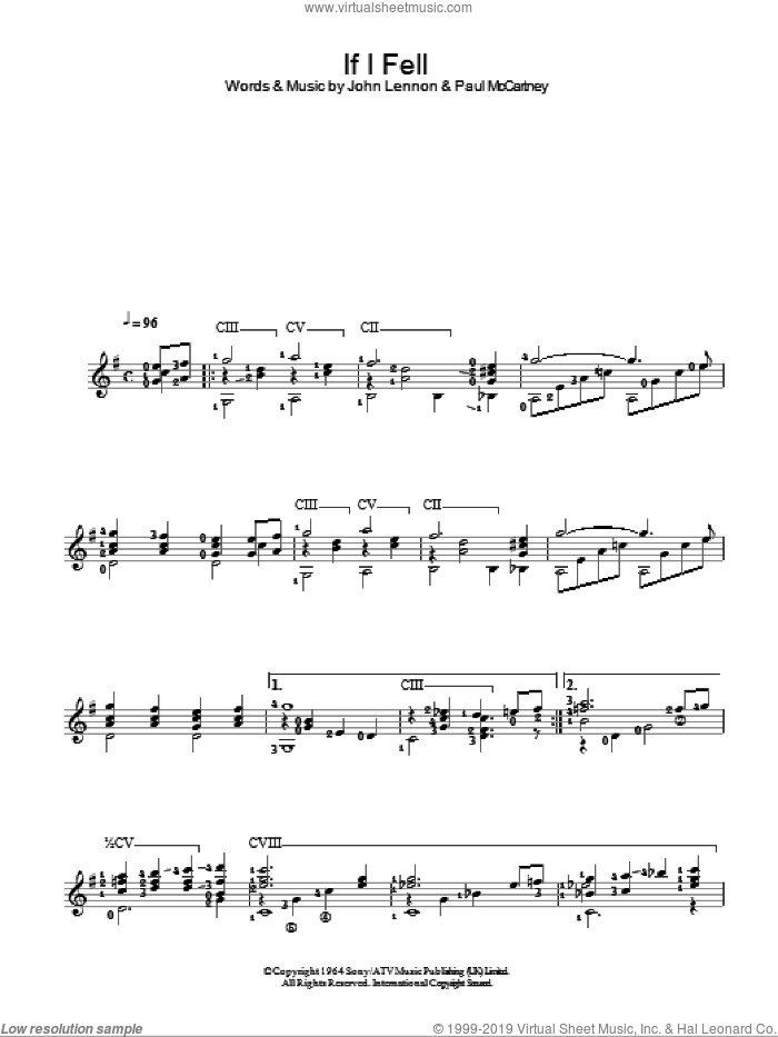 If I Fell sheet music for guitar solo (chords) by Paul McCartney, The Beatles and John Lennon. Score Image Preview.