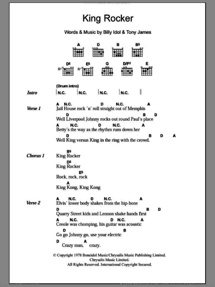 King Rocker sheet music for guitar (chords) by Generation X, Billy Idol and Tony James, intermediate skill level