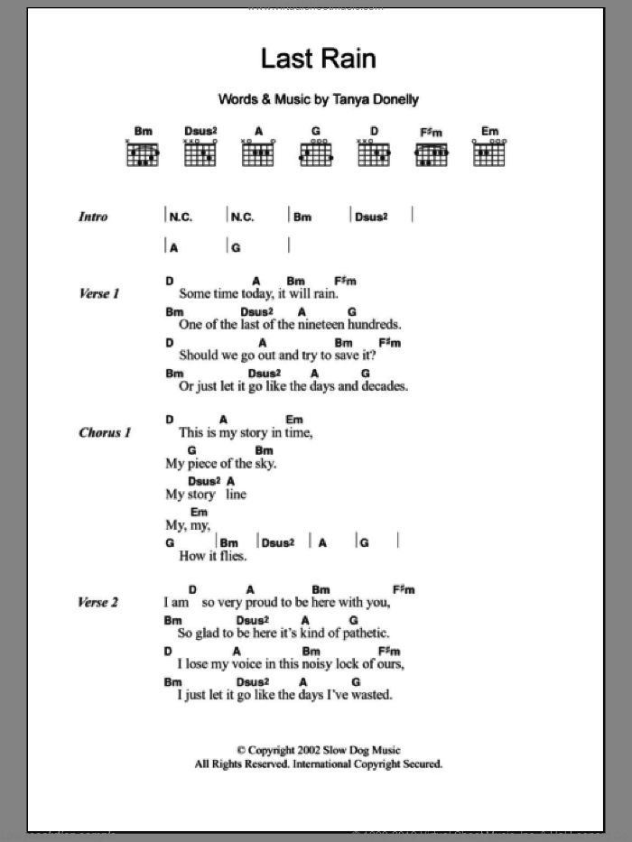 Last Rain sheet music for guitar (chords) by Tanya Donelly