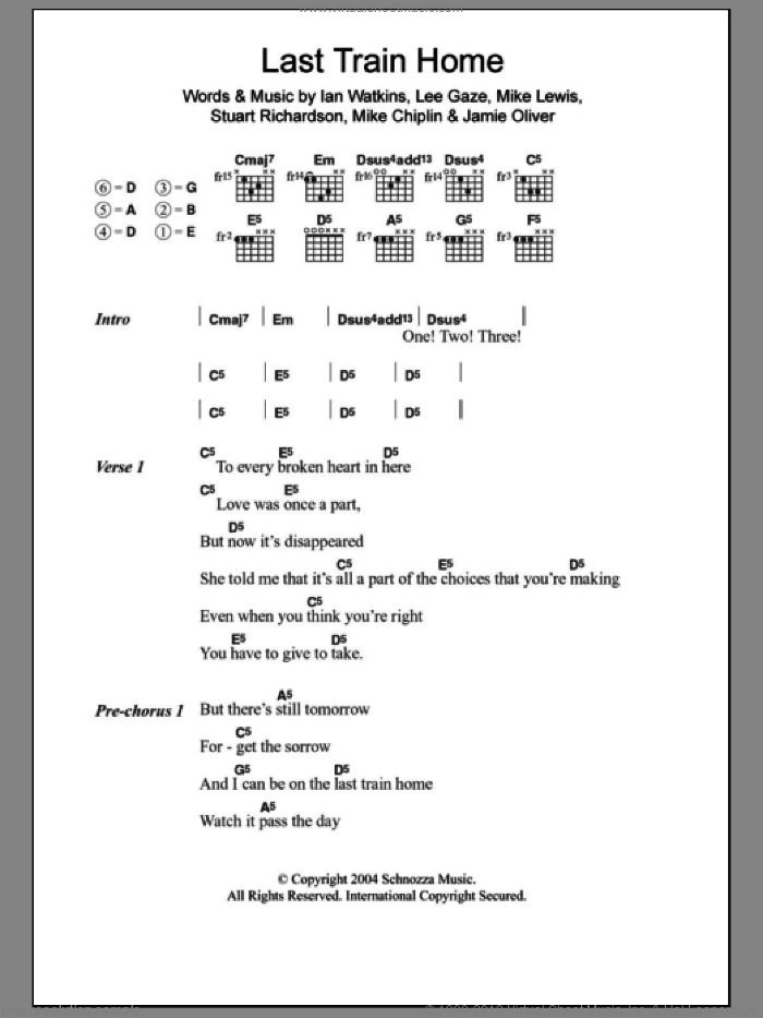 Last Train Home sheet music for guitar (chords) by Stuart Richardson and Mike Lewis. Score Image Preview.