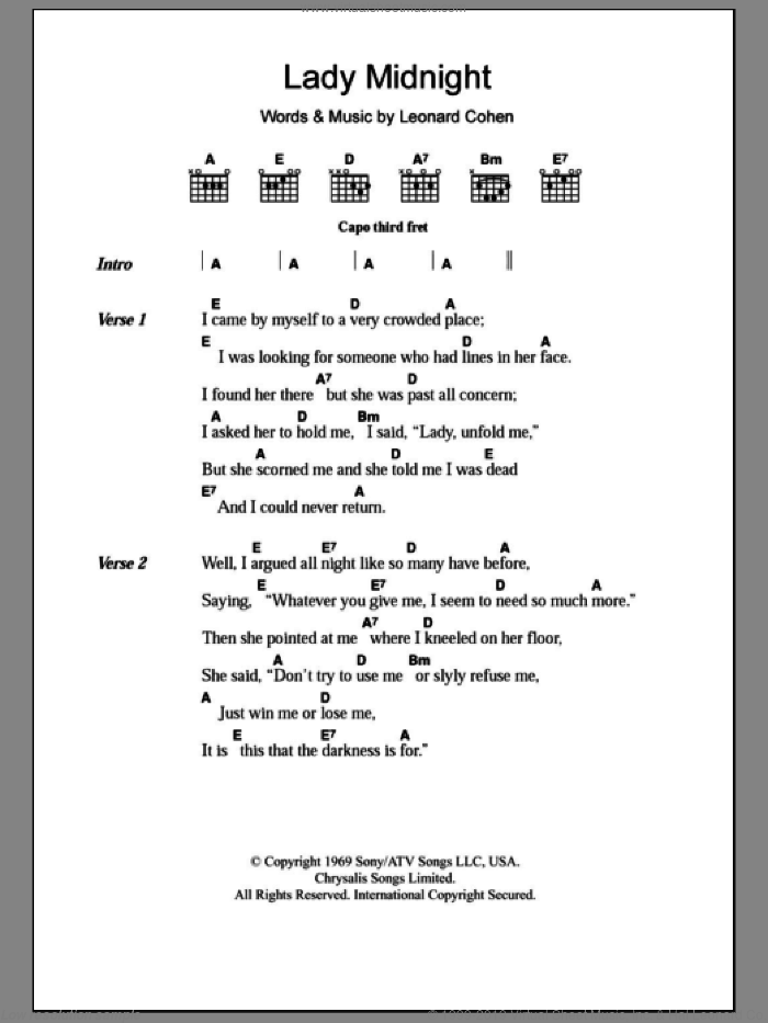 Lady Midnight sheet music for guitar (chords) by Leonard Cohen, intermediate