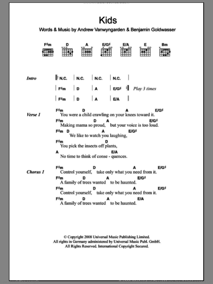 Kids sheet music for guitar (chords) by MGMT, intermediate guitar (chords). Score Image Preview.