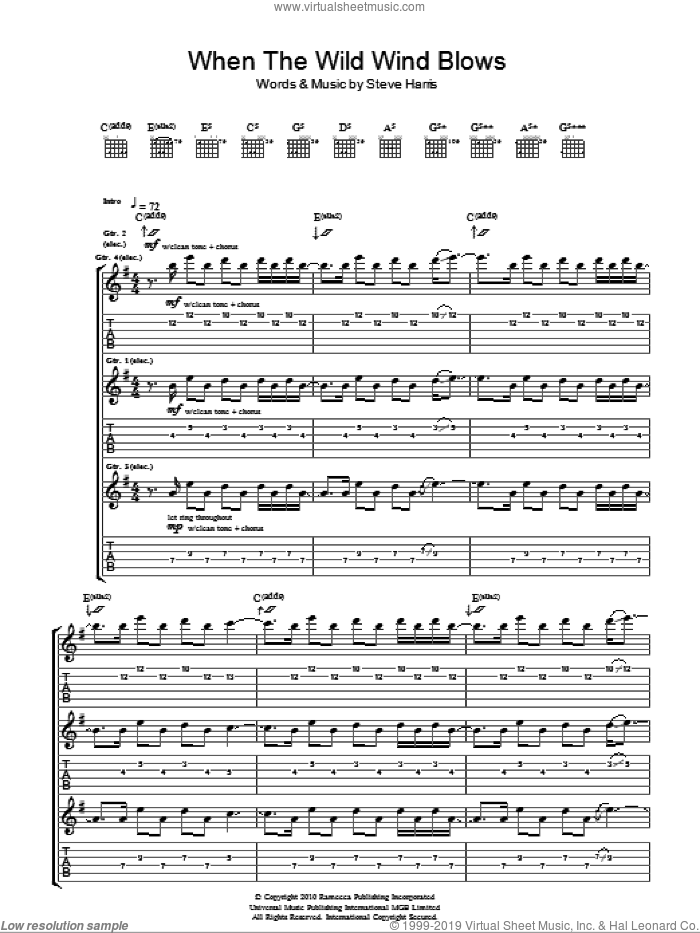 When The Wild Wind Blows sheet music for guitar (tablature) by Steve Harris and Iron Maiden