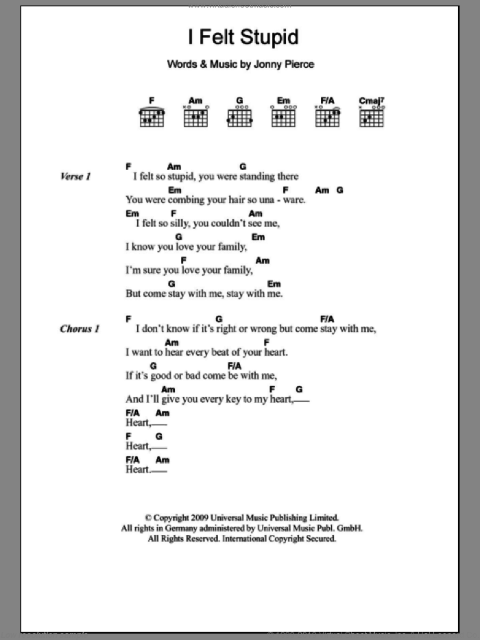 I Felt Stupid sheet music for guitar (chords) by The Drums. Score Image Preview.