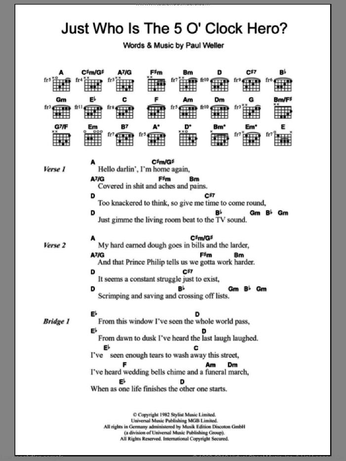Just Who Is The 5 O'Clock Hero? sheet music for guitar (chords) by The Jam and Paul Weller, intermediate. Score Image Preview.