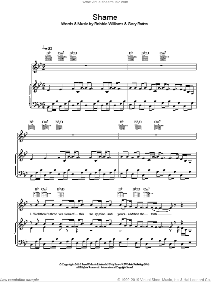 Shame sheet music for voice, piano or guitar by Robbie Williams & Gary Barlow, Gary Barlow and Robbie Williams, intermediate skill level