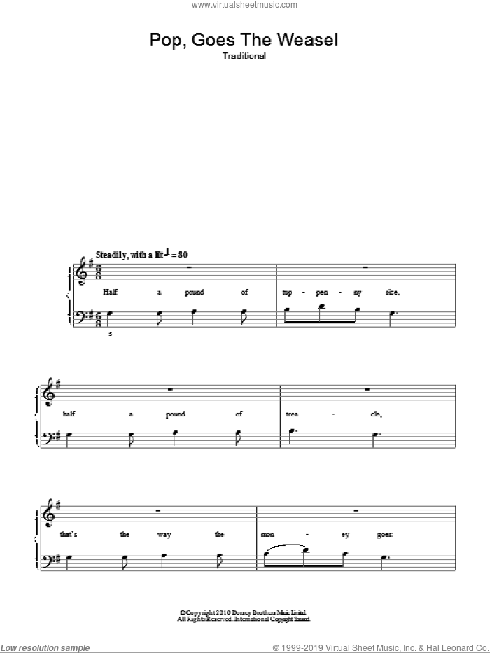 Pop Goes The Weasel, (easy) sheet music for piano solo, easy skill level