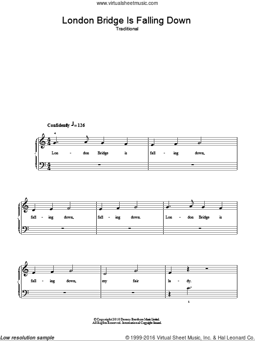 London Bridge sheet music for piano solo. Score Image Preview.