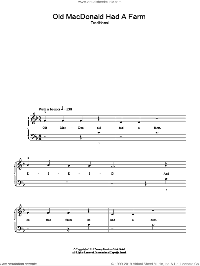 Old MacDonald sheet music for piano solo, easy skill level