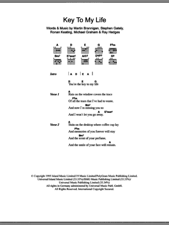 Key To My Life sheet music for guitar (chords) by Boyzone, Martin Brannigan, Michael Graham, Micheal Graham, Ray Hedges, Ronan Keating and Stephen Gately, intermediate skill level