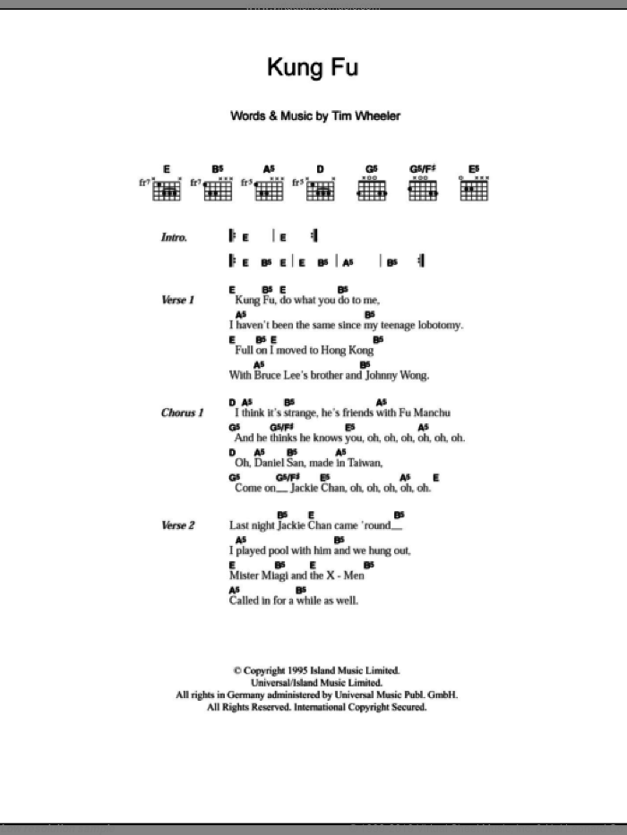 Kung Fu sheet music for guitar (chords) by Tim Wheeler. Score Image Preview.