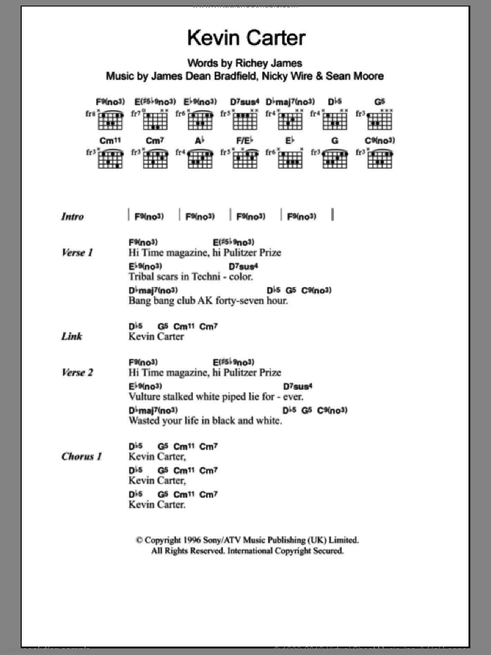 Kevin Carter sheet music for guitar (chords) by Sean Moore and James Dean Bradfield. Score Image Preview.