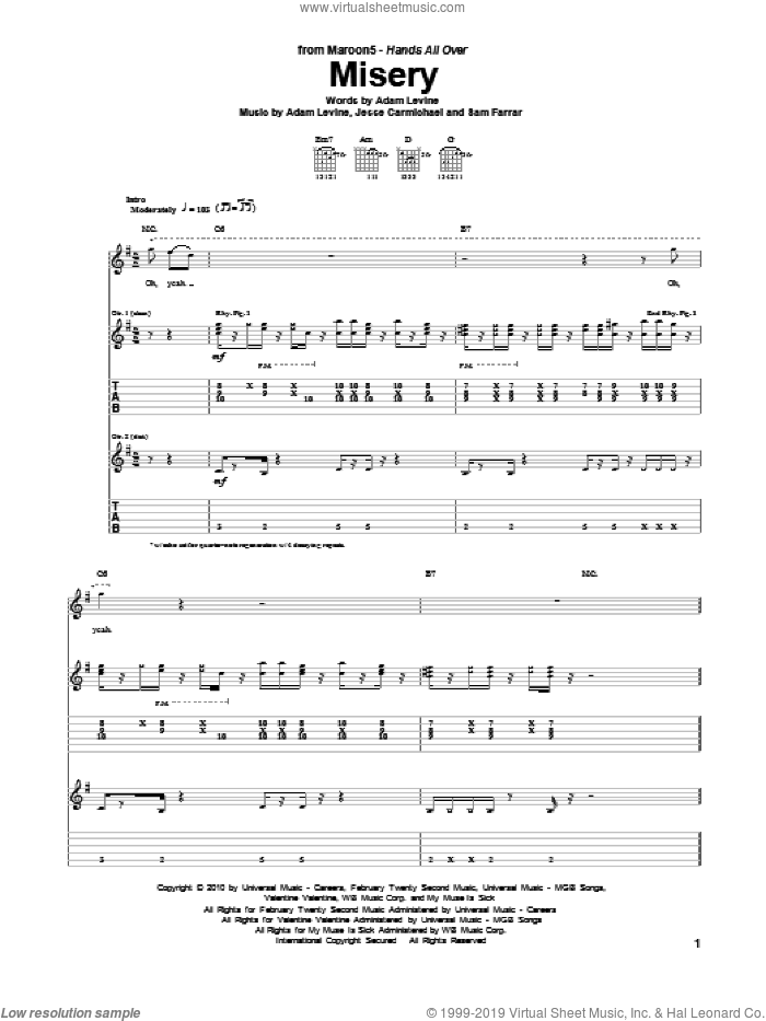 Misery sheet music for guitar (tablature) by Maroon 5, Adam Levine, Jesse Carmichael and Sam Farrar, intermediate guitar (tablature). Score Image Preview.