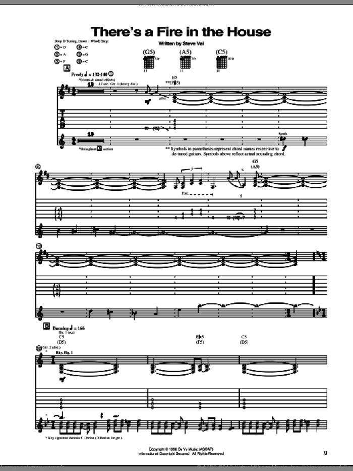 There's A Fire In The House sheet music for guitar (tablature) by Steve Vai. Score Image Preview.