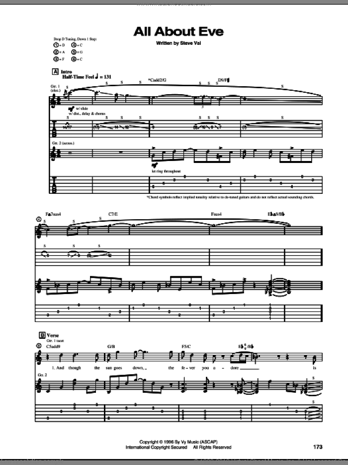All About Eve sheet music for guitar (tablature) by Steve Vai, intermediate guitar (tablature). Score Image Preview.