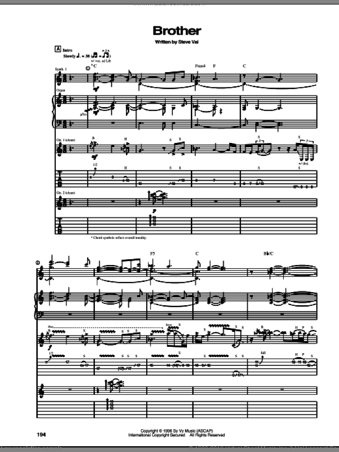 Brother sheet music for guitar (tablature) by Steve Vai, intermediate skill level