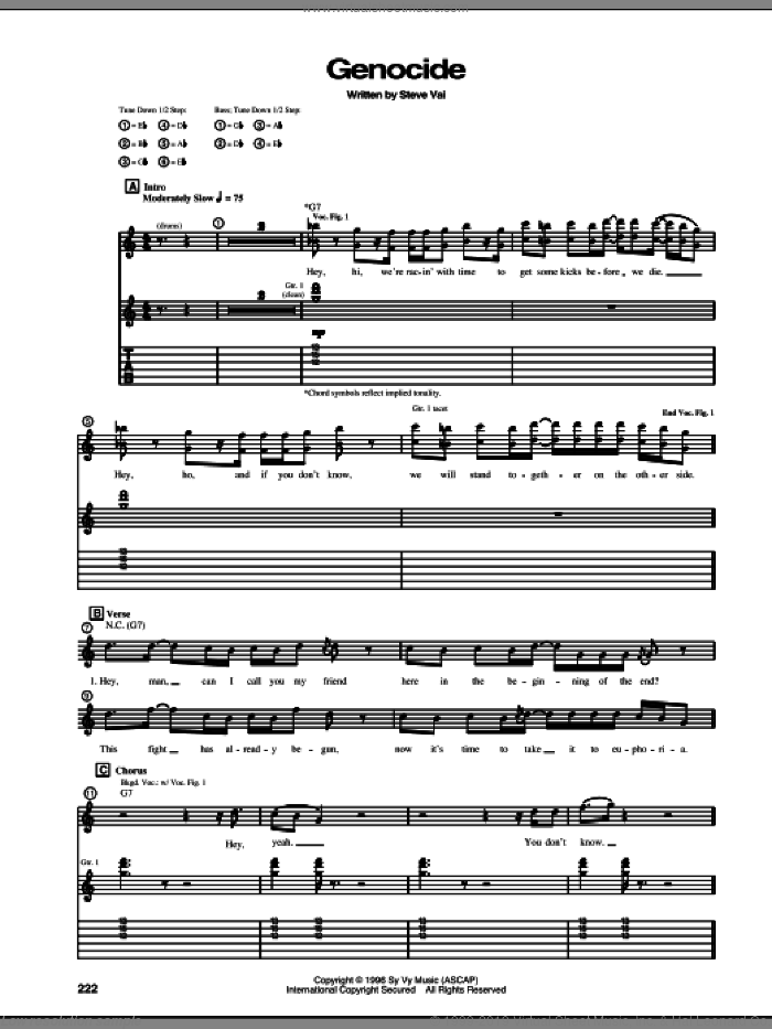 Genocide sheet music for guitar (tablature) by Steve Vai. Score Image Preview.
