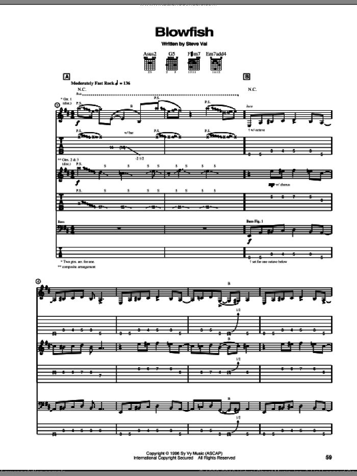 Blowfish sheet music for guitar (tablature) by Steve Vai, intermediate skill level