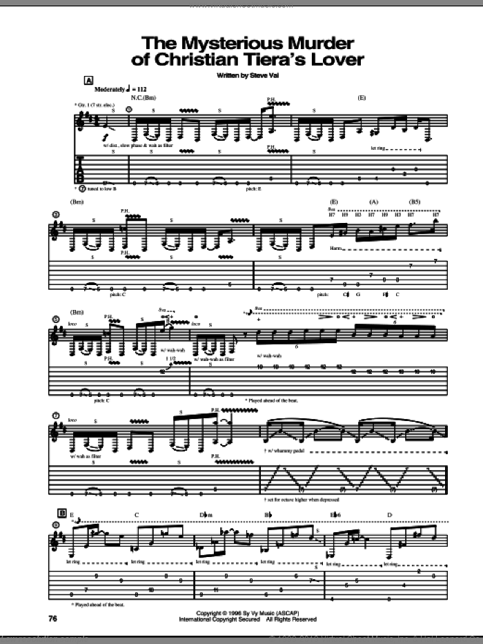 The Mysterious Murder Of Christian Tiera's Lover sheet music for guitar (tablature) by Steve Vai. Score Image Preview.