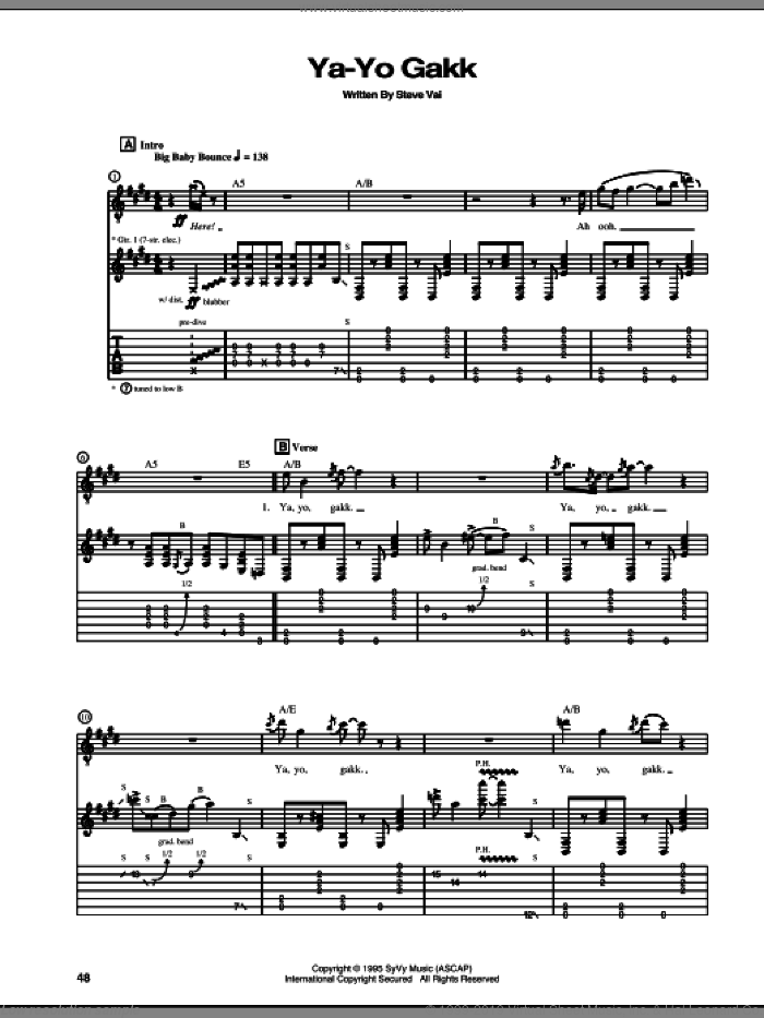 Ya-Yo Gakk sheet music for guitar (tablature) by Steve Vai. Score Image Preview.