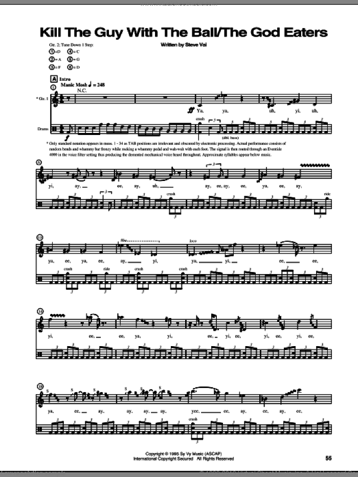 Kill The Guy With The Ball/The God Eaters sheet music for guitar (tablature) by Steve Vai. Score Image Preview.