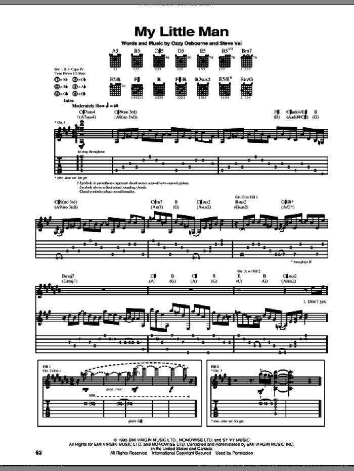 My Little Man sheet music for guitar (tablature) by Ozzy Osbourne and Steve Vai. Score Image Preview.