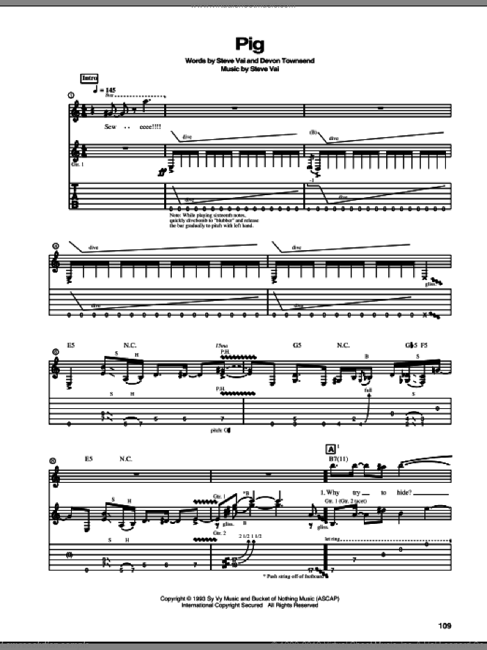 Pig sheet music for guitar (tablature) by Steve Vai. Score Image Preview.