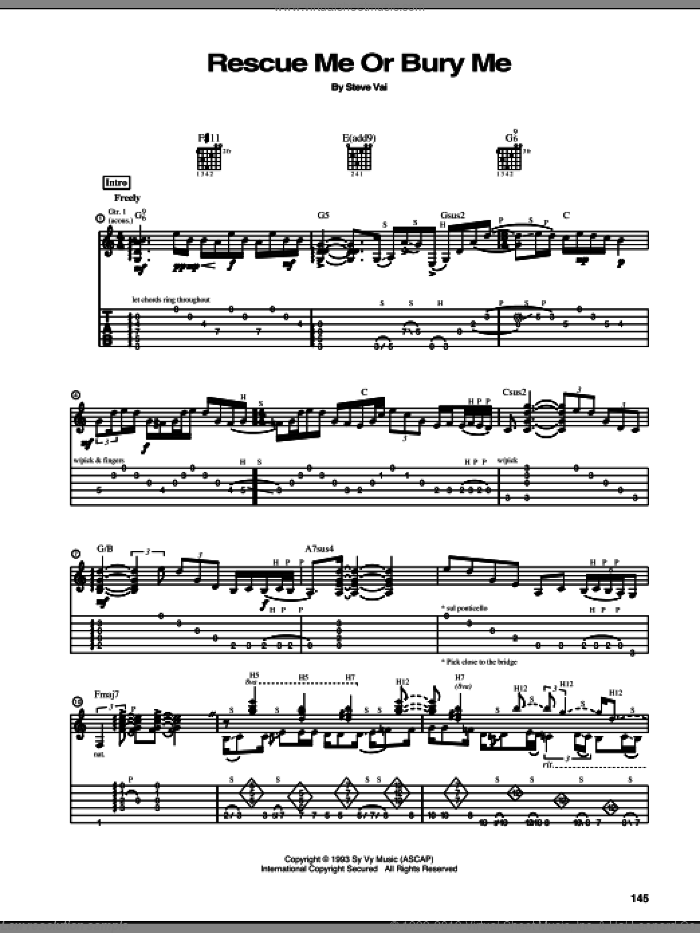 Rescue Me Or Bury Me sheet music for guitar (tablature) by Steve Vai, intermediate guitar (tablature). Score Image Preview.