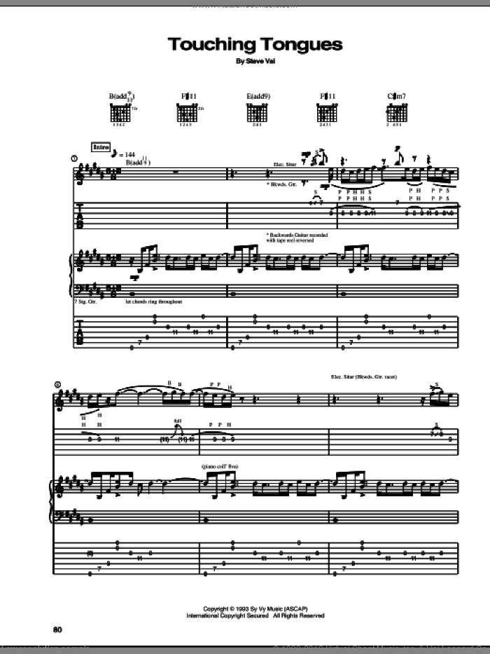 Touching Tongues sheet music for guitar (tablature) by Steve Vai, intermediate. Score Image Preview.