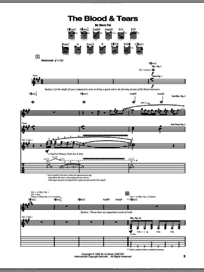 The Blood and Tears sheet music for guitar (tablature) by Steve Vai. Score Image Preview.