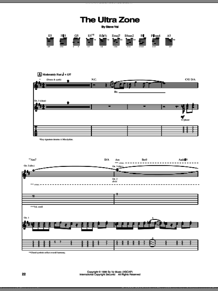 The Ultra Zone sheet music for guitar (tablature) by Steve Vai. Score Image Preview.