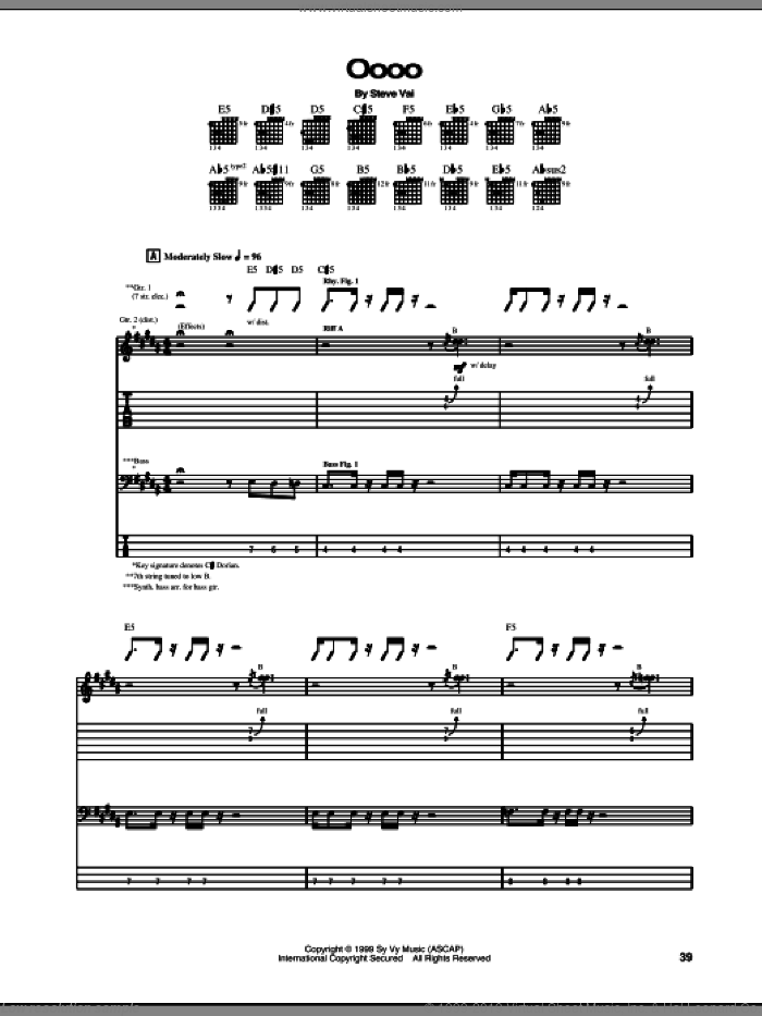Oooo sheet music for guitar (tablature) by Steve Vai, intermediate. Score Image Preview.