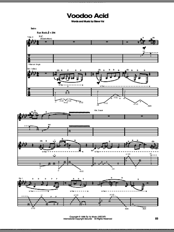 Voodoo Acid sheet music for guitar (tablature) by Steve Vai. Score Image Preview.