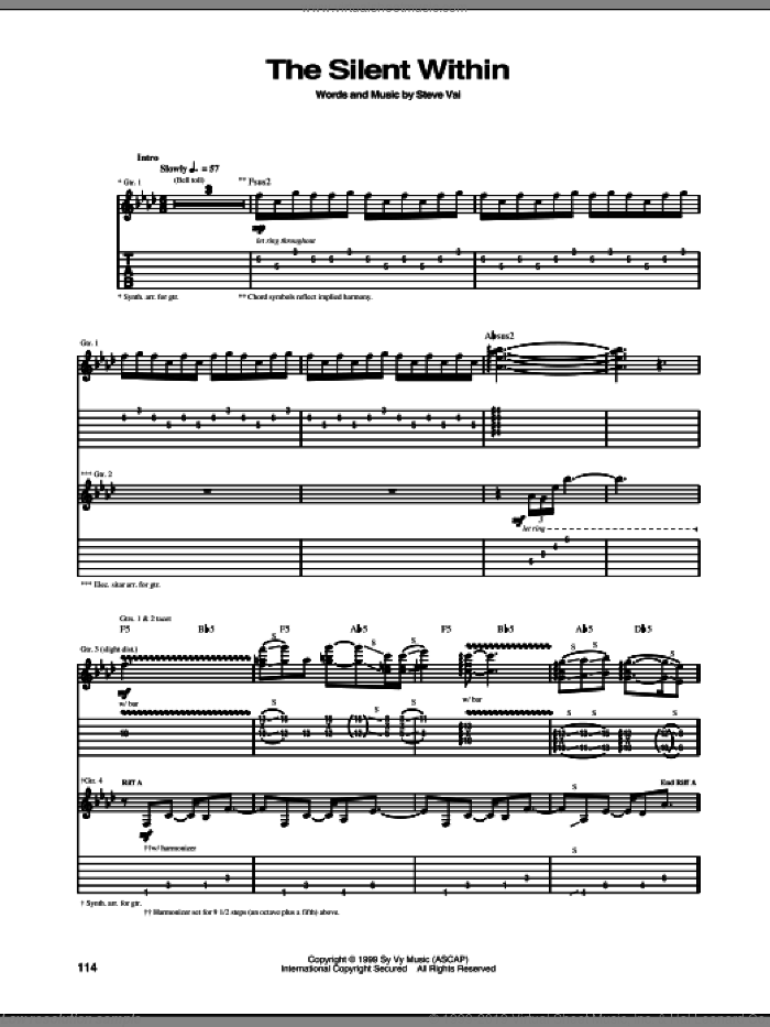 The Silent Within sheet music for guitar (tablature) by Steve Vai, intermediate. Score Image Preview.