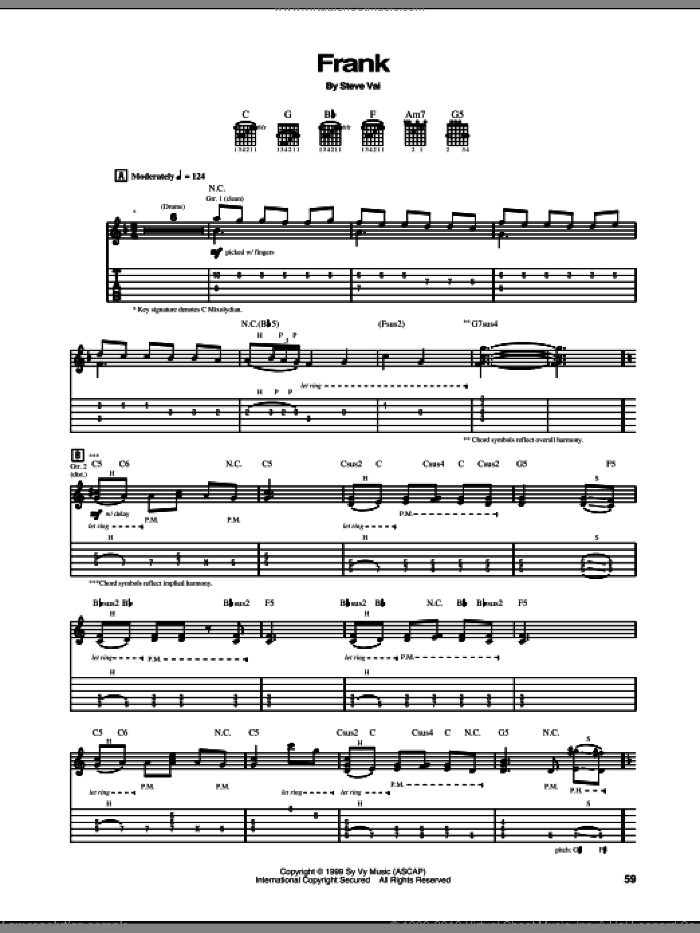 Frank sheet music for guitar (tablature) by Steve Vai