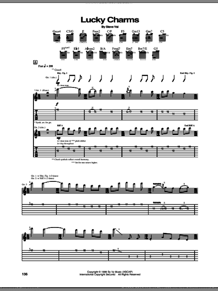 Lucky Charms sheet music for guitar (tablature) by Steve Vai. Score Image Preview.