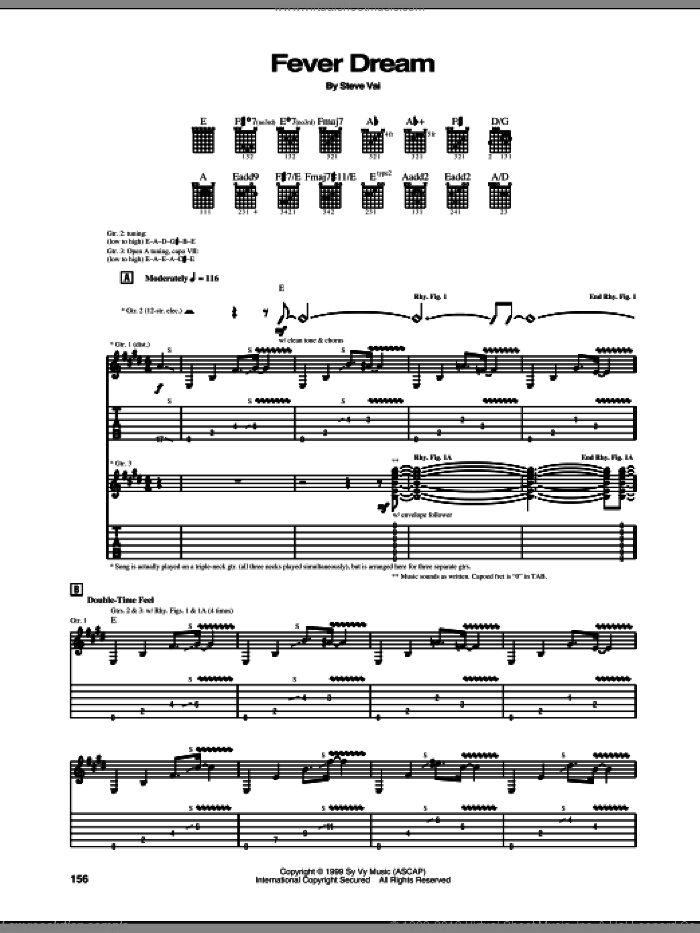 Fever Dream sheet music for guitar (tablature) by Steve Vai. Score Image Preview.