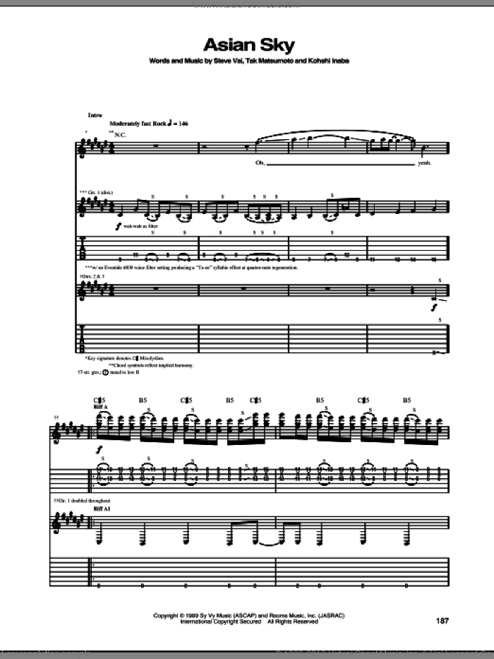Asian Sky sheet music for guitar (tablature) by Tak Matsumoto and Steve Vai. Score Image Preview.
