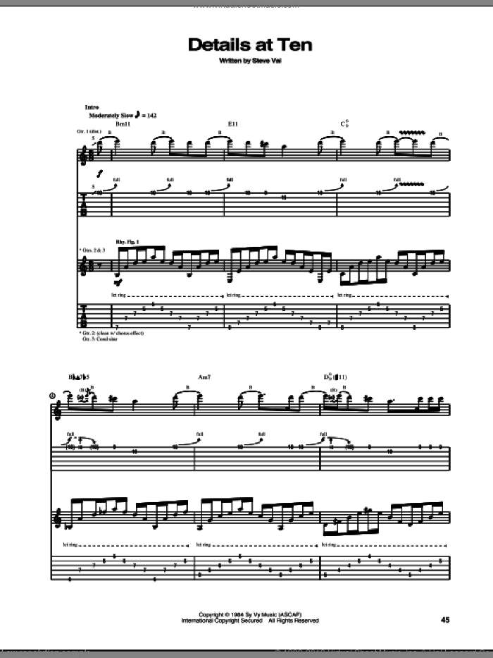 Details At Ten sheet music for guitar (tablature) by Steve Vai, intermediate