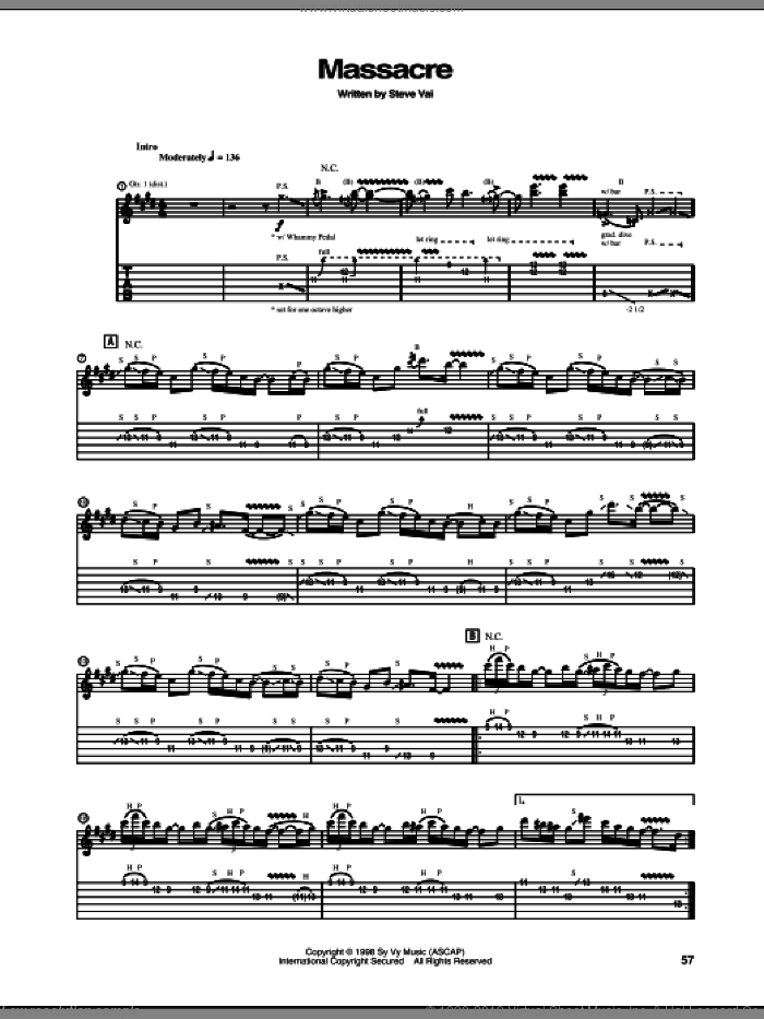 Massacre sheet music for guitar (tablature) by Steve Vai, intermediate guitar (tablature). Score Image Preview.