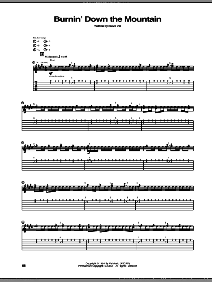 Burnin' Down The Mountain sheet music for guitar (tablature) by Steve Vai. Score Image Preview.