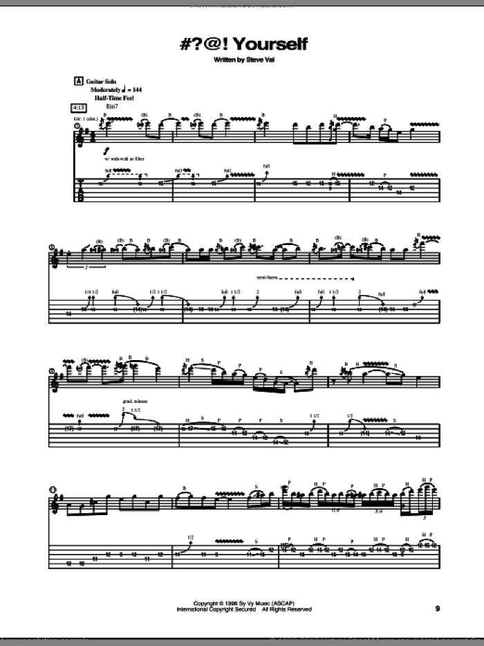 #?@! Yourself sheet music for guitar (tablature) by Steve Vai. Score Image Preview.