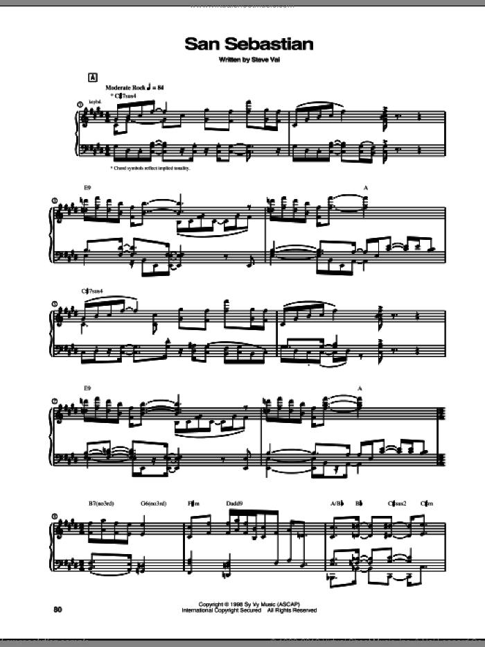 San Sebastian sheet music for guitar (tablature) by Steve Vai, intermediate skill level